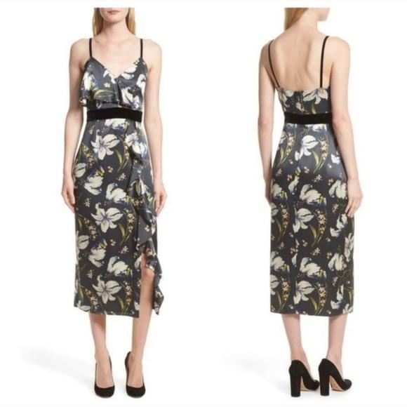 cinq a sept Dresses & Skirts - Cinq a Sept Leena Floral Silk Velvet Midi Dress 0